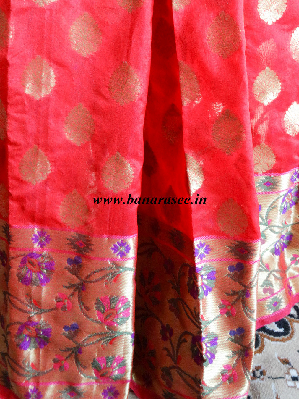 Banarasee Cotton Silk Mix Saree with Zari Work Paithani Border-Red