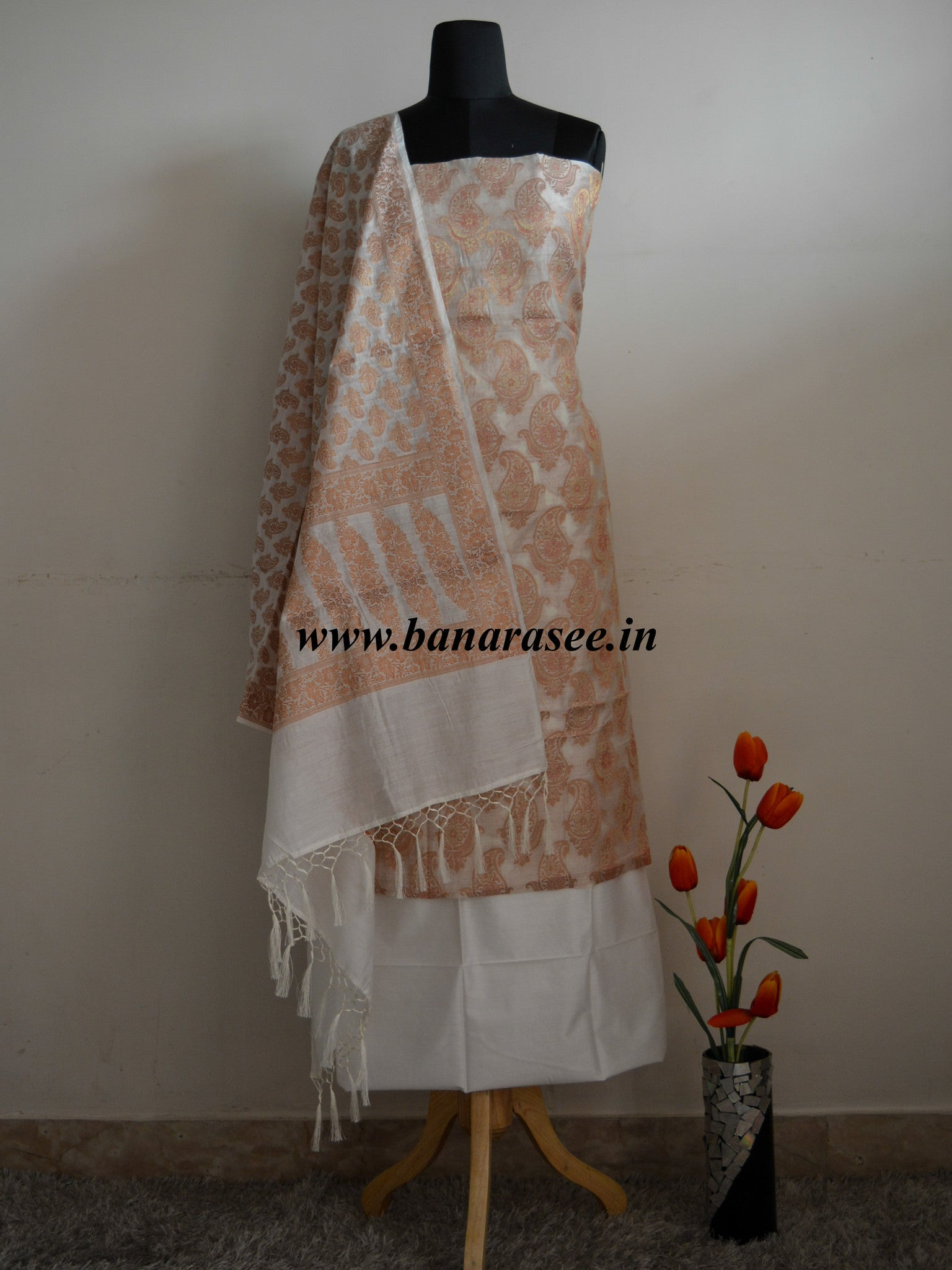 Banarasee/Banarasi Salwar Kameez Cotton Silk Copper Zari Buti Woven Fabric-Off White