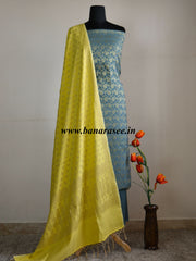 Banarasee/Banarasi Salwar Kameez Cotton Silk Zari Jaal Fabric With Contrast Dupatta-Grey