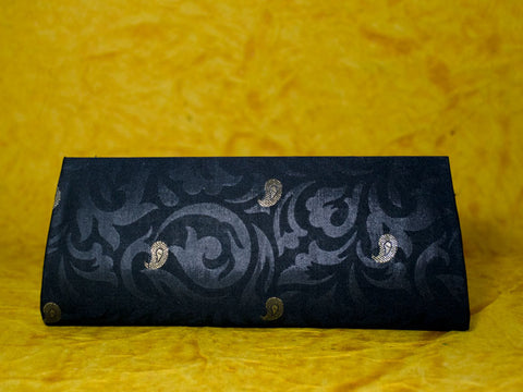 Black Art Silk Clutch Bag With Zari Buti