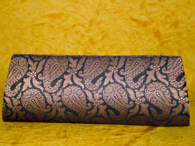 Black & Golden Brocade Clutch Bag with Zari Paisley Buti