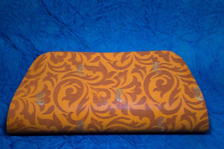 Orange Art Silk Clutch Bag With Zari Buti