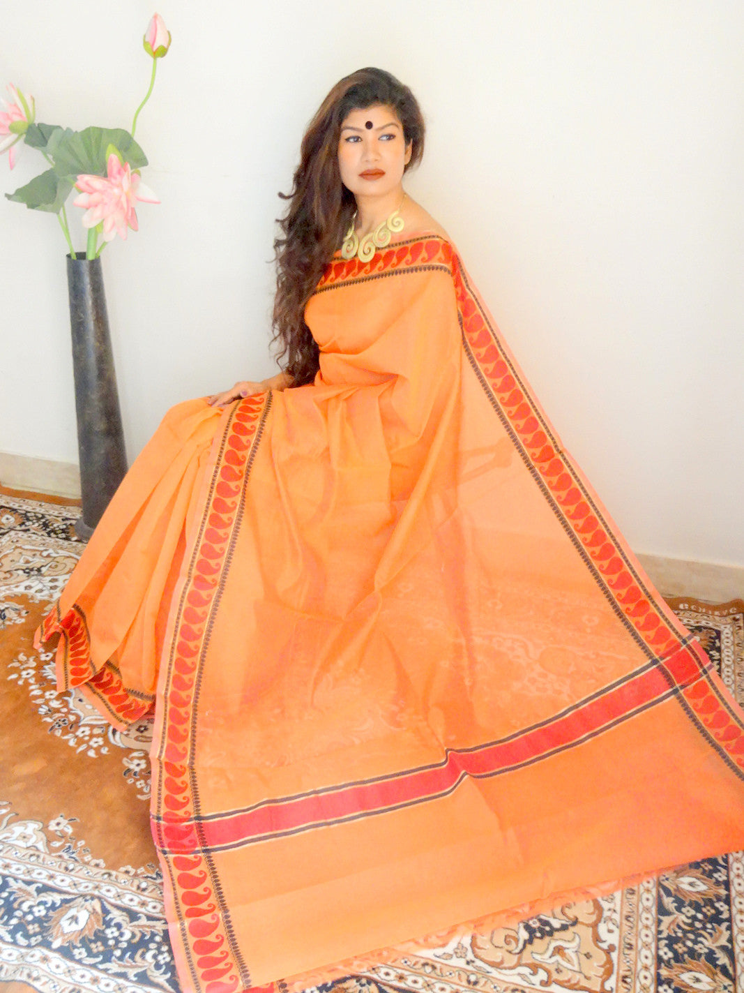 Banarasee/Banarasi Mix Cotton Silk Sari-Orange