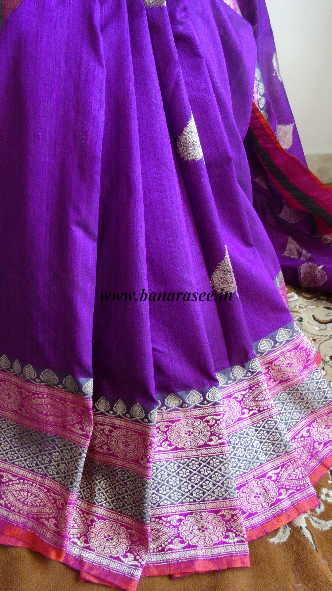 Banarasee/Banarasee Pure Handloom Dupion Silk Sari With Buta Design-Violet