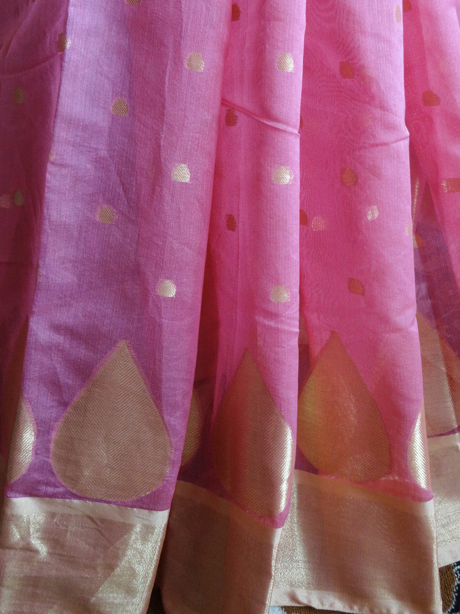 Banarasee Chanderi Cotton Gold Buti Saree- Pink