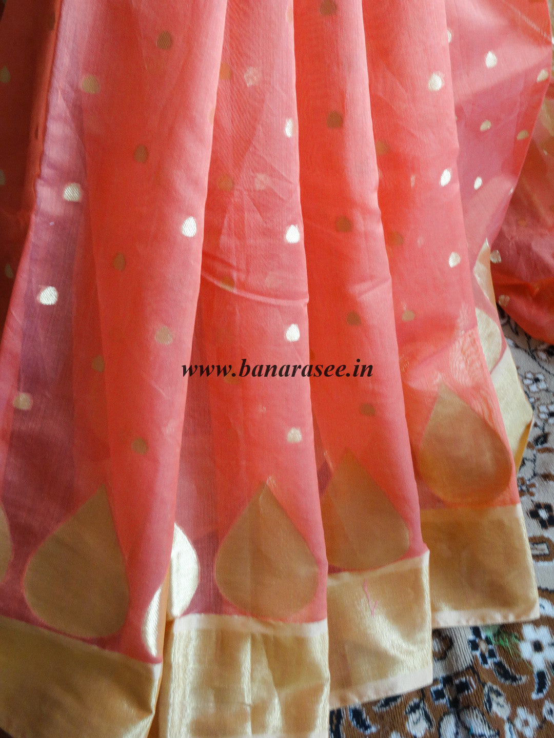 Banarasee Chanderi Cotton Gold Buti Saree-Peach