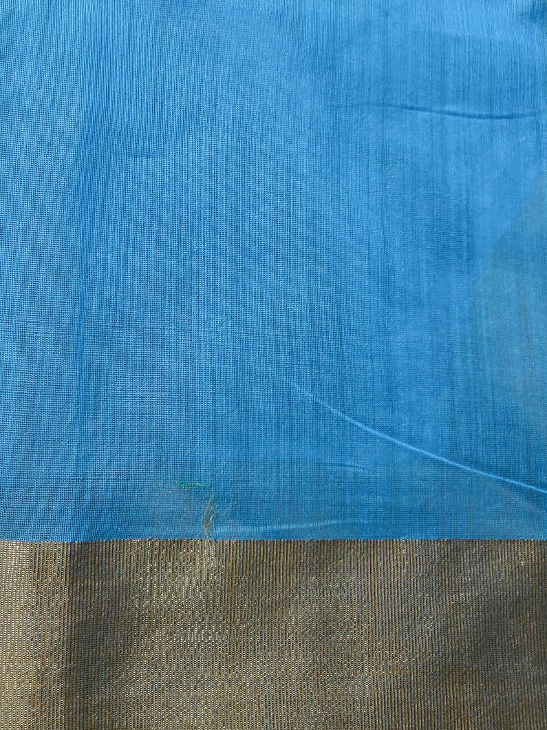 Banarasee/Banarasee Pure Handloom Silk Cotton Sari With Golden Border Plain-Blue