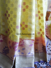 Banarasee/Banarasi Handloom Cotton Silk Mix Jamdani Sari Zari Border-Yellow