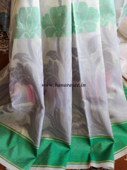Banarasee/Banarasi Tissue Saree with Floral Design & Contrast Border-Off-White