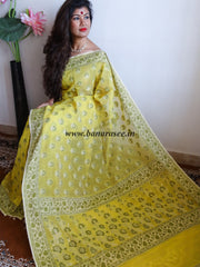 Banarasee/Banarasi Cotton Silk Mix Saree With Floral Weaving Design-Yellow