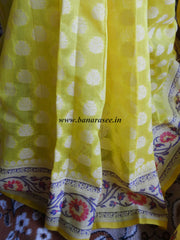 Banarasee/Banarasi Cotton Saree With  Resham Paithani Border-Lemon Yellow