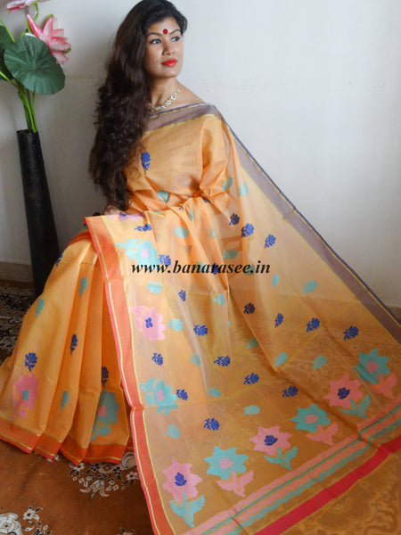 Banarasee/Banarasi Cotton Mix Saree With Multicolor Resham Floral Weaving-Orange