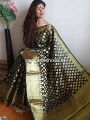 Banarasee/Banarasi Cotton Silk Mix Saree Zari Buti Broad Border-Black
