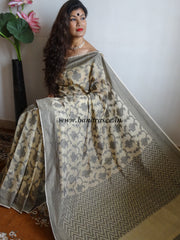 Banarasee/Banarasi Cotton Blend Jaal Design Sari-Off-White