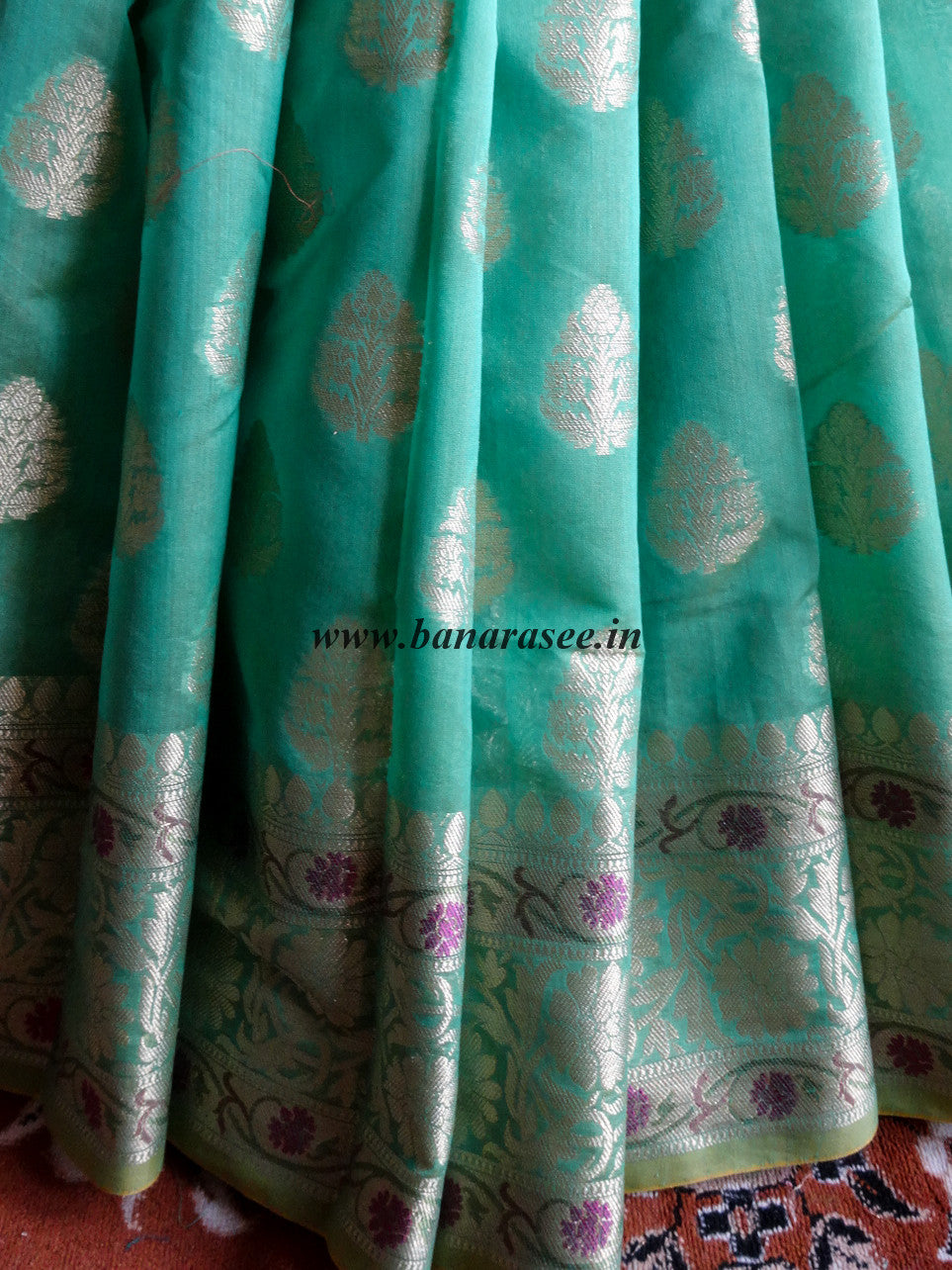 Banarasee/Banarasi Handloom Cotton Silk Mix Paithani Border Sari-Green(Dual Tone)