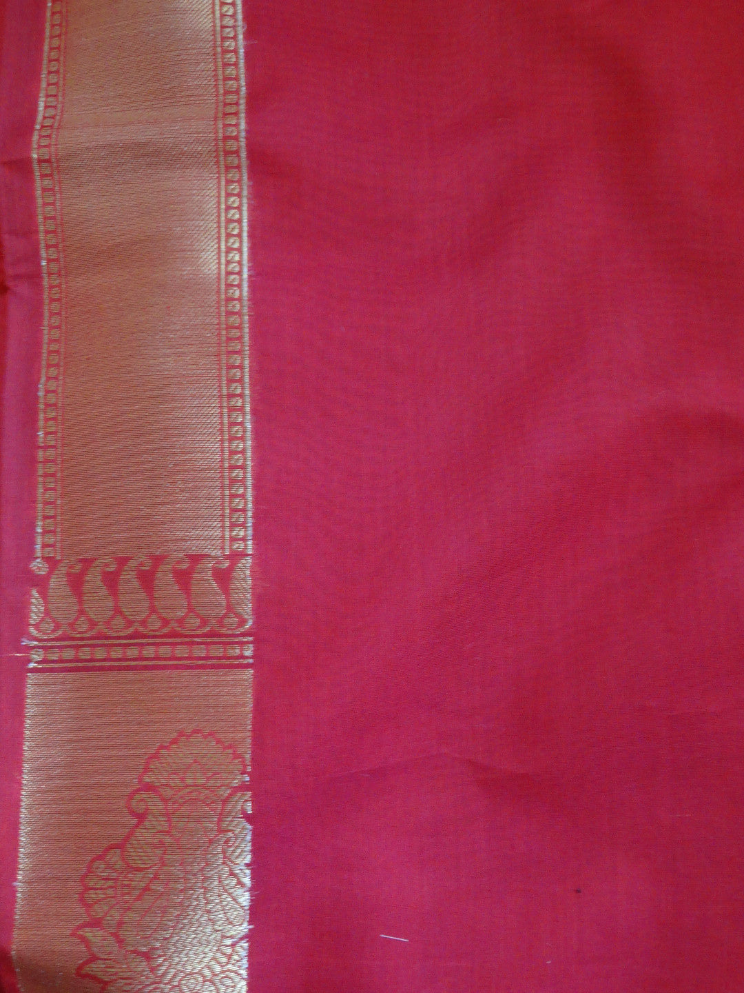Banarasee/Banarasi Handloom Cotton Silk Mix Paithani Border Sari-Red
