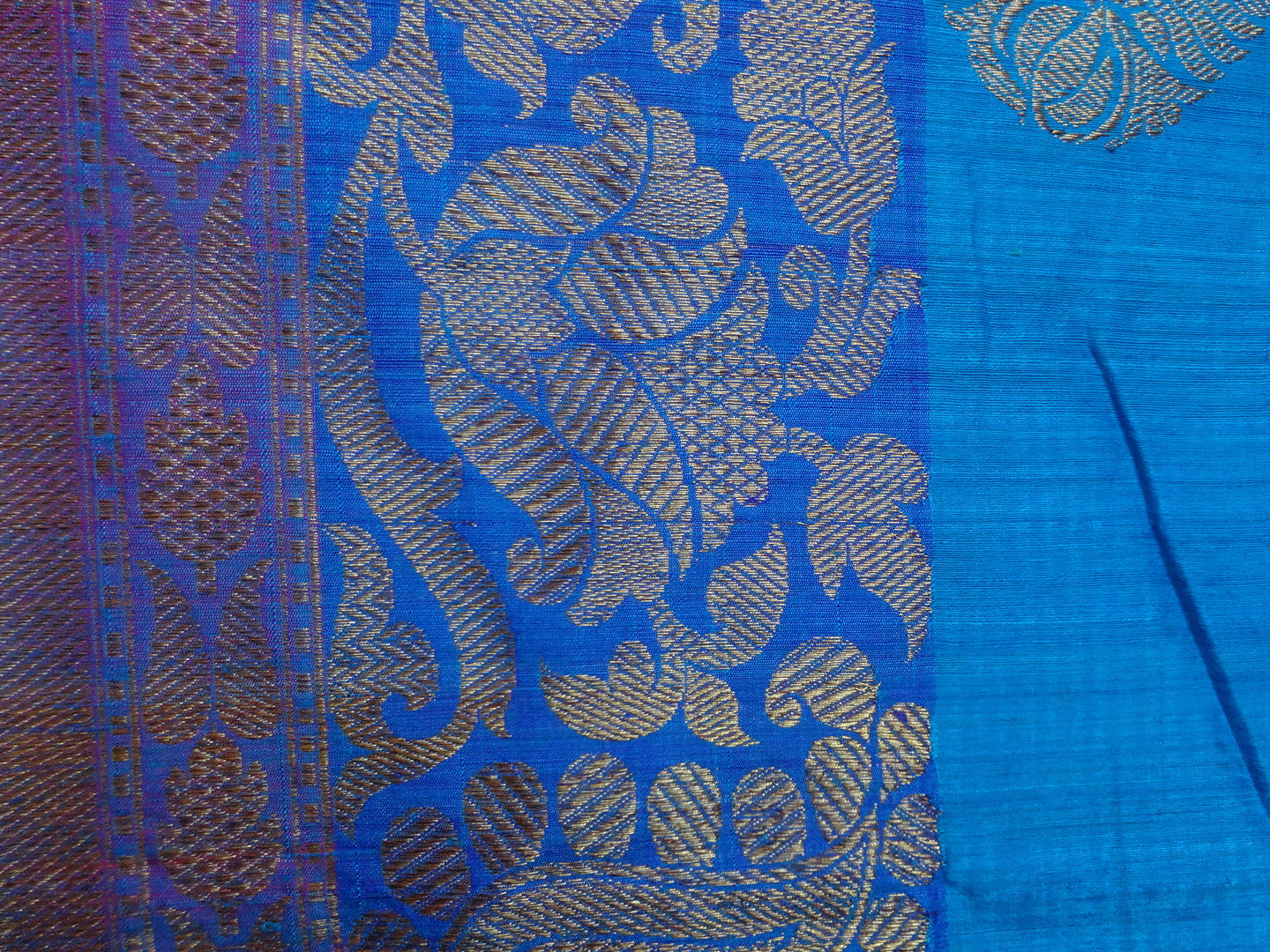Banarasee/Banarasee Pure Handloom Dupion Silk Sari With Broad Border-Blue