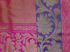 Banarasee/Banarasee Pure Handloom Dupion Silk Sari With Broad Border-Off-White