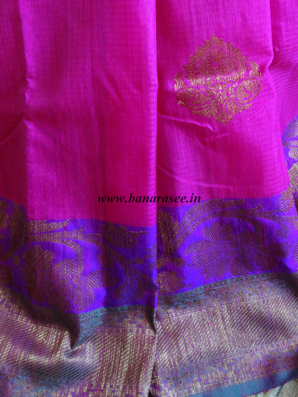 Banarasee/Banarasee Pure Handloom Dupion Silk Sari With Broad Border-Magenta