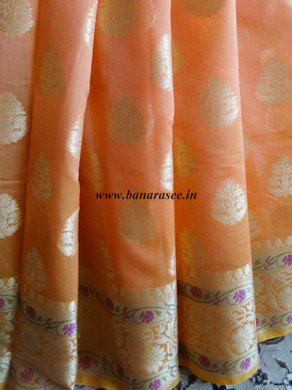 Banarasee/Banarasi Handloom Cotton Silk Mix Paithani Border Sari-Orange