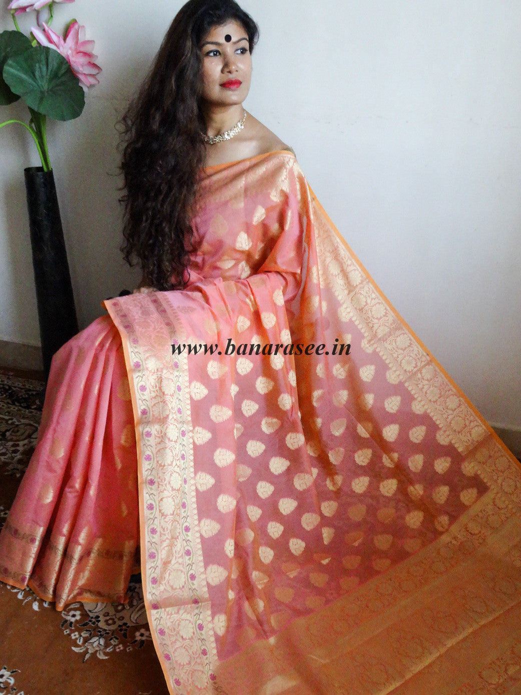 Banarasee/Banarasi Handloom Cotton Silk Mix Paithani Border Sari-Pink(Dual Tone)