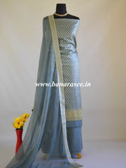 Banarasee Salwar Kameez Cotton Silk Woven Zari Buti Fabric-Grey