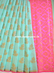 Banarasee Cotton Silk Mix Saree With Zari Leaf Buta-Sea Green