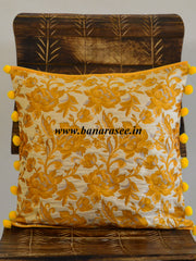 Banarasee Resham Brocade Piping & Pom-Pom Detail Cushion Cover-Beige & Yellow