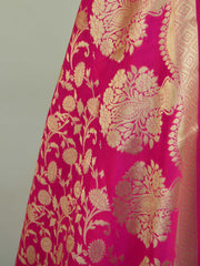 Banarasee Satin Brocade Digital Print Salwar Kameez Fabric With Hot Pink Dupatta-Pink