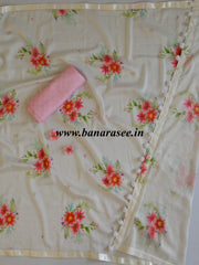 Banarasee Handloom Chanderi Digital Print Saree With Contrast Pink Blouse-Off White