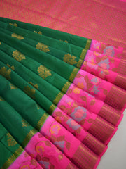 Banarasee Handloom Pure Dupion Silk Saree With Pink Border & Pallu-Emerald Green
