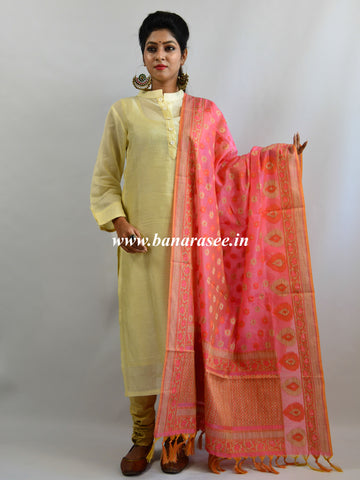 Banarasee Handloom Chanderi Kurta and Dupatta Set-Ivory with Peach