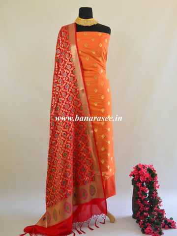 Banarasee Salwar Kameez Semi Katan Silk Zari Buti Fabric With Contrast Dupatta-Orange