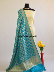 Banarasee Art Silk Dupatta With Jhumki Motif-Teal Green