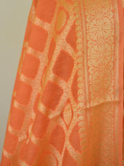 Banarasee Salwar Kameez Cotton Silk Gold Zari Buti Woven Fabric-Coral
