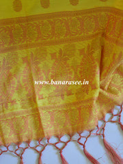 Banarasee Salwar Kameez Soft Cotton Silk Resham Woven Fabric With Paisley Design-Yellow