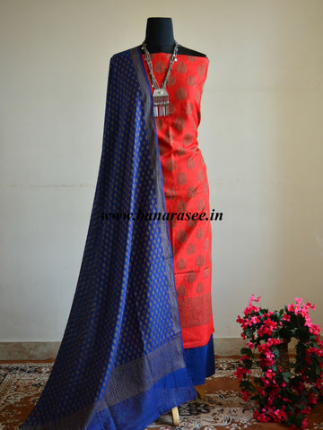 Banarasee Salwar Kameez Soft Cotton With Resham Buti Fabric With Blue Dupatta-Red