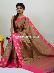 Banarasee Kora Muslin Saree With Tanchoi Weaving & Pink Satin Border-Brown