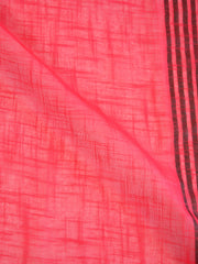 Banarasee Handloom Khadi Black Border Saree With Black Blouse-Cherry Red