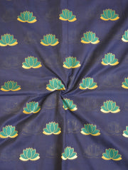 Banarasee Semi Katan Silk Lotus Buti Design Fabric-Deep Blue