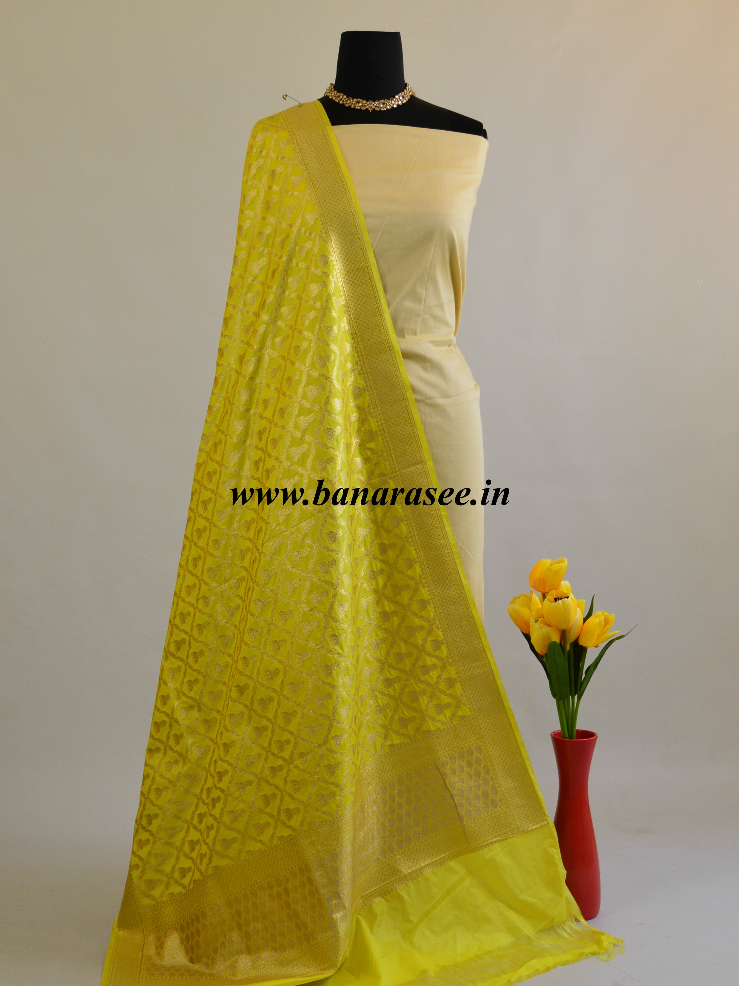 Banarasee Art Silk Dupatta With Jhumki Motif-Lemon Yellow