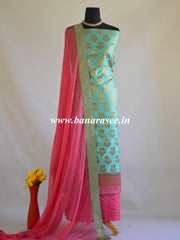 Banarasee Salwar Kameez Cotton Silk Woven Antique Gold Buti Fabric With Pink Dupatta-Sea Green