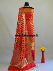 Banarasee Semi Silk Zari Work Salwar Kameez & Dupatta Set-Red