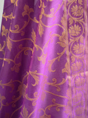 Banarasee Purple Shibori Dyed Chanderi Salwar Kameez Fabric With Cotton Silk Dupatta-White