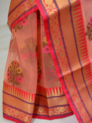 Banarasee Organza Mix Saree With Multicolor Floral Buta & Zari Border-Peach