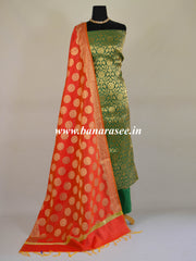 Banarasee Handwoven Brocade Salwar Kameez Fabric With Chanderi Cotton Dupatta-Green
