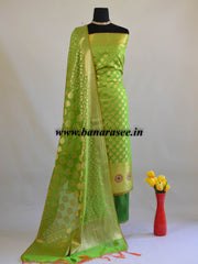 Banarasee Semi Silk Zari Work Salwar Kameez & Dupatta Set-Green
