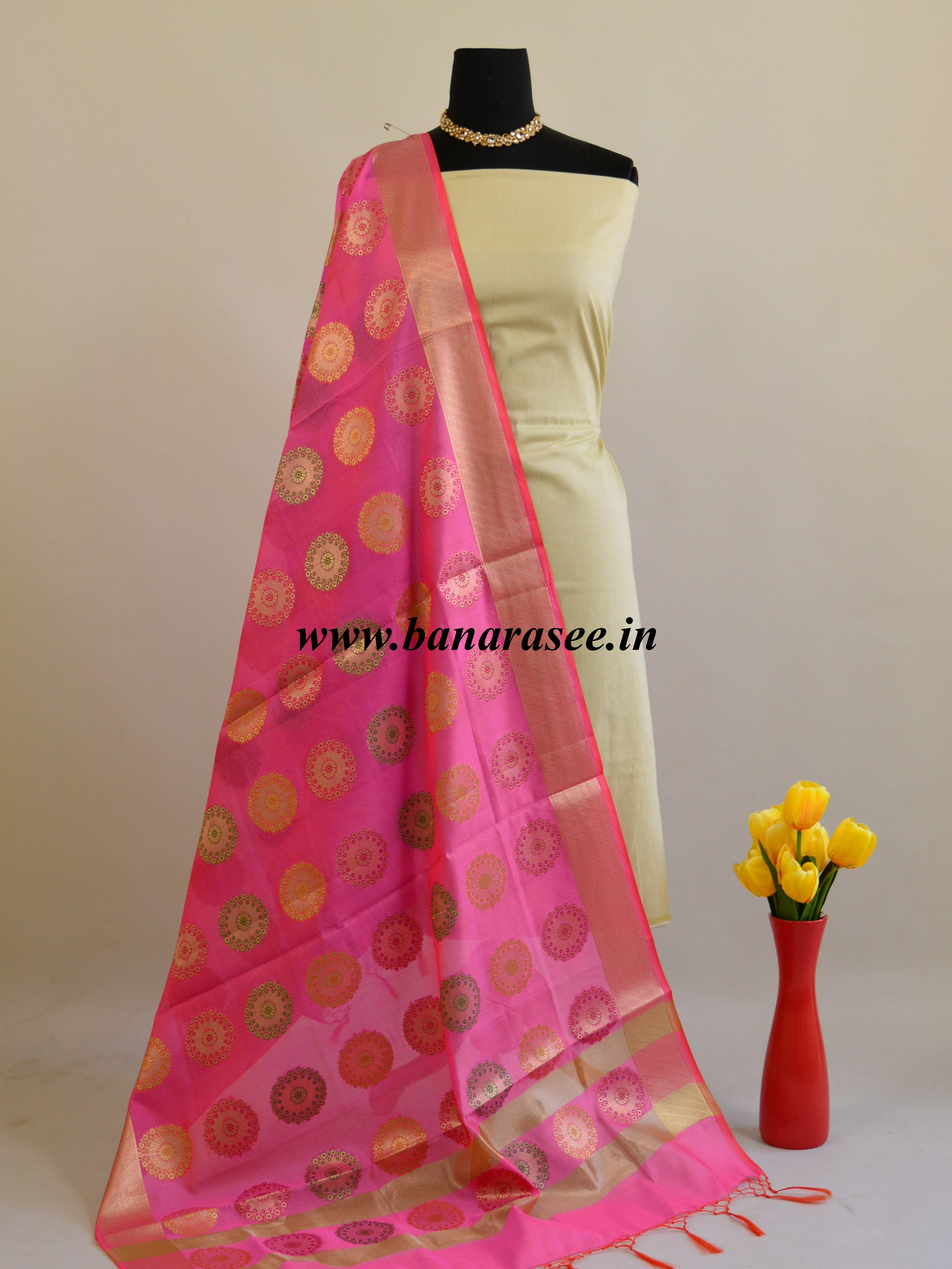 Banarasee Art Silk Dupatta With Gold Zari Buta Design-Mauve