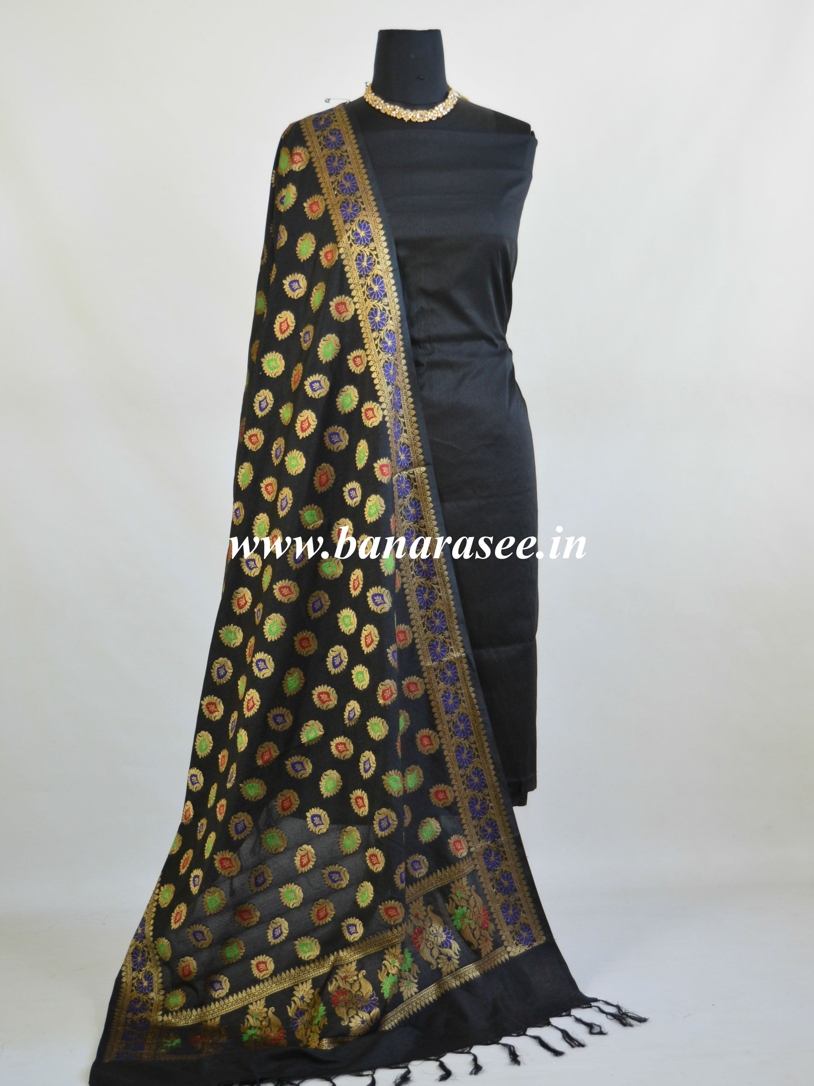 Art Silk Dupatta With Meena & Zari Buti Design-Black