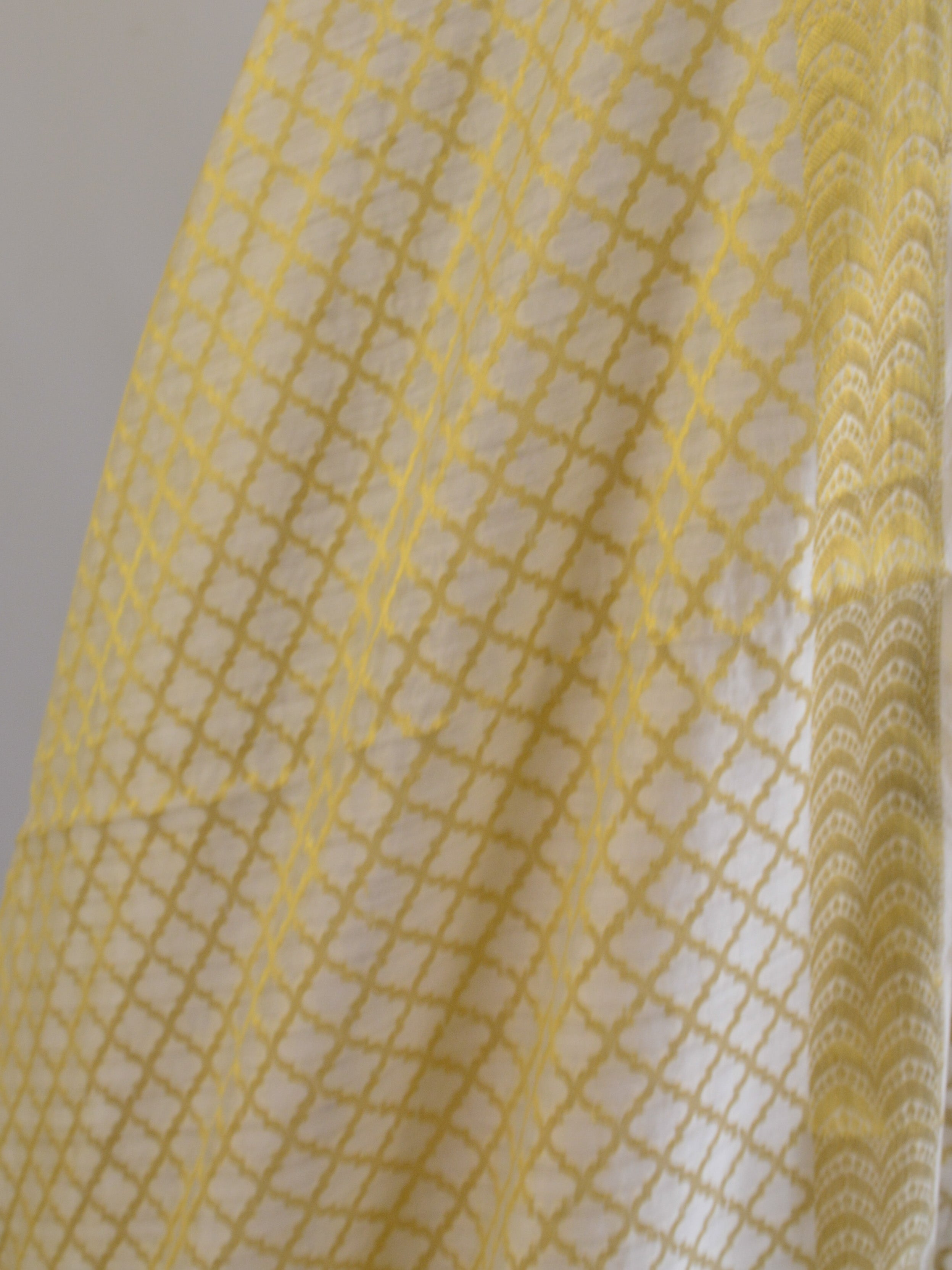 Banarasee Salwar Kameez Cotton Silk Gold Zari Jaal Woven Fabric-Off white